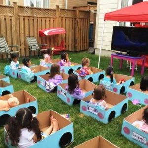 outside birthday party ideas for toddlers Unique Leahs Drive in movie birthday party Its daylight so a projector