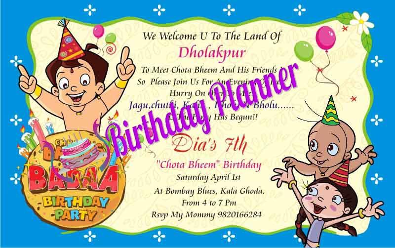 Chhota Bheema, Birthday Invites